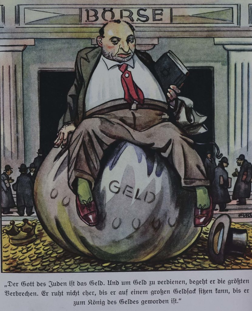 a cartoon of a bloated figure sitting on a large bag of money