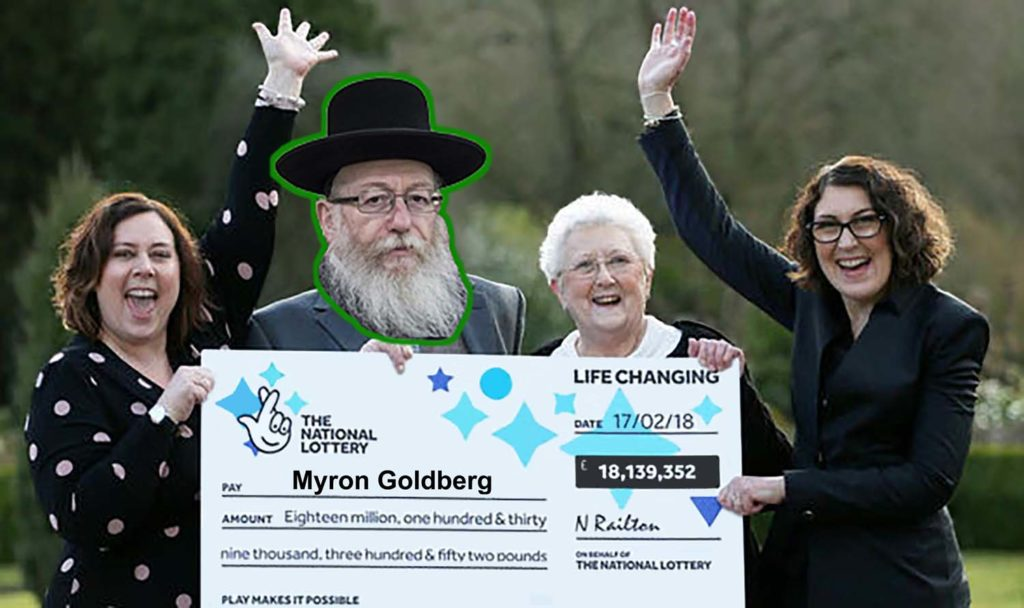 a photoshooped image of lottery winners with a large cheque with an elderyl Jewish man's head overlaid on one of the people