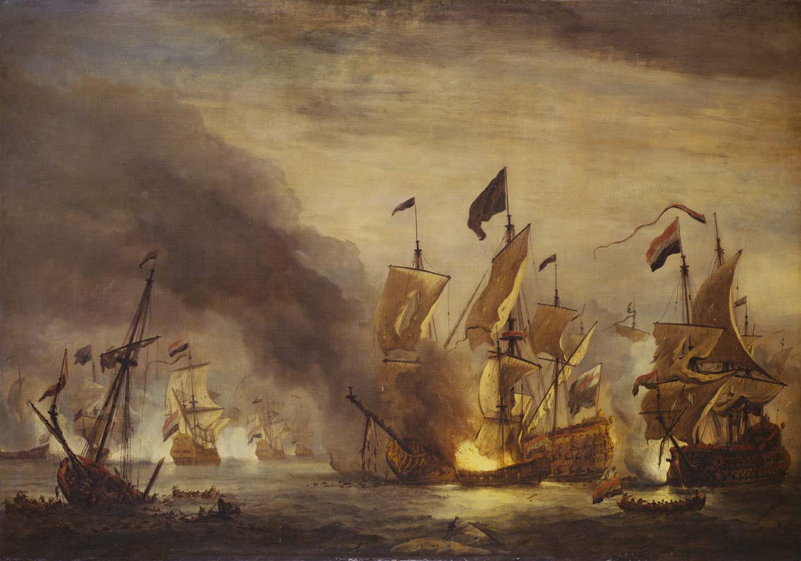 a large oil painting of a naval battle with sailing warships