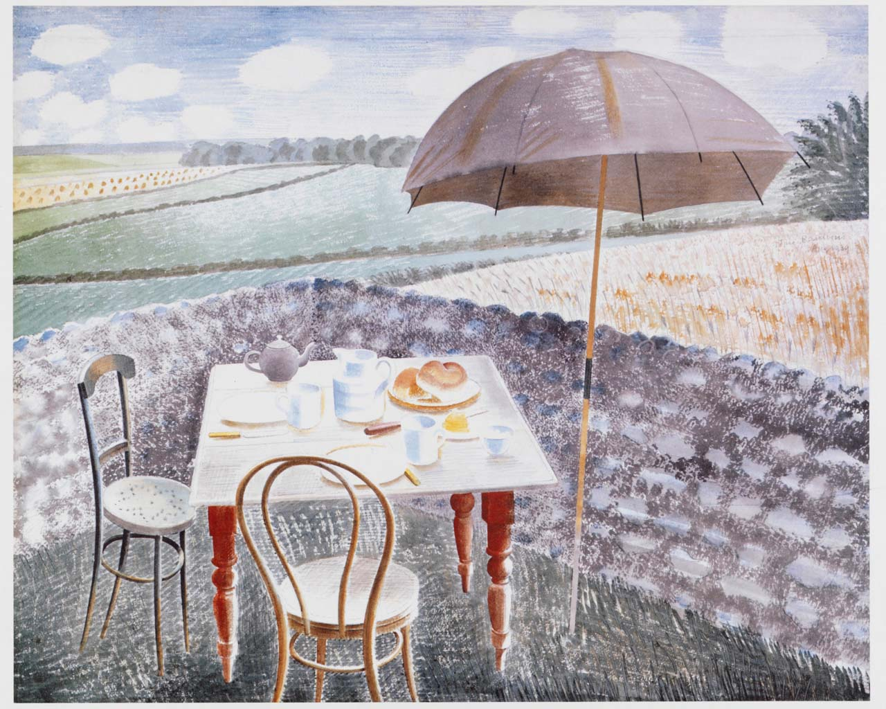 a watercolour of a table set for tea in a garden by a flint wall overlooking fields