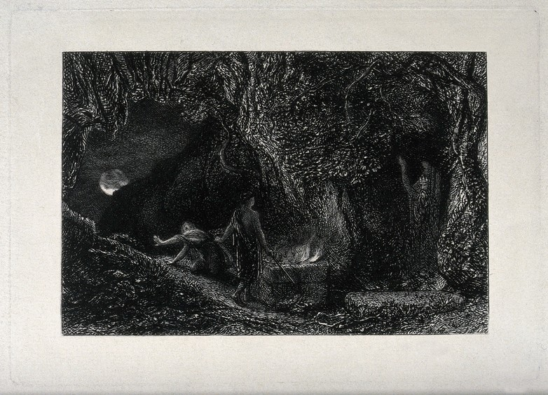 illustration showing wizard and another figure in cave with fire looking out to the moon