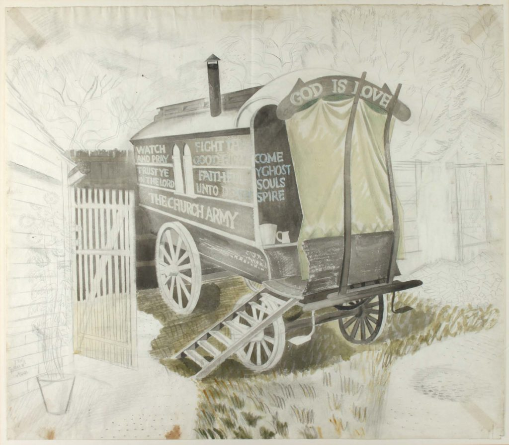 a sketch of an old caravan with Church army slogans written on it