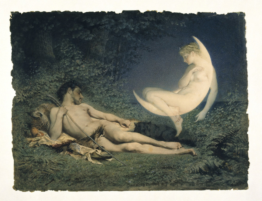 painting showing man reclining on the ground beside a ghostly woman sitting in a crescent moon