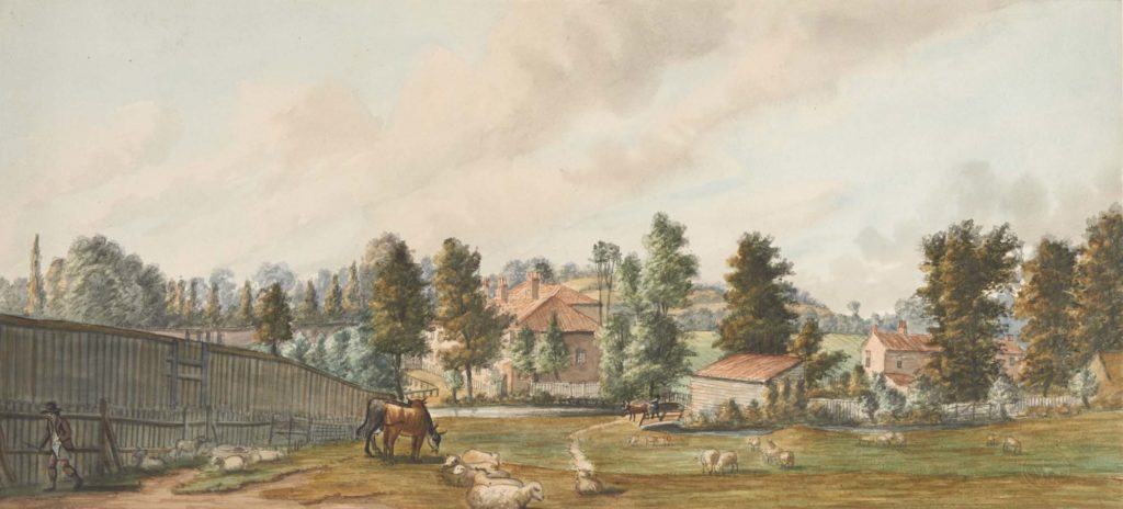 a watercolour of meadows with sheep and a stream passing by a cottage