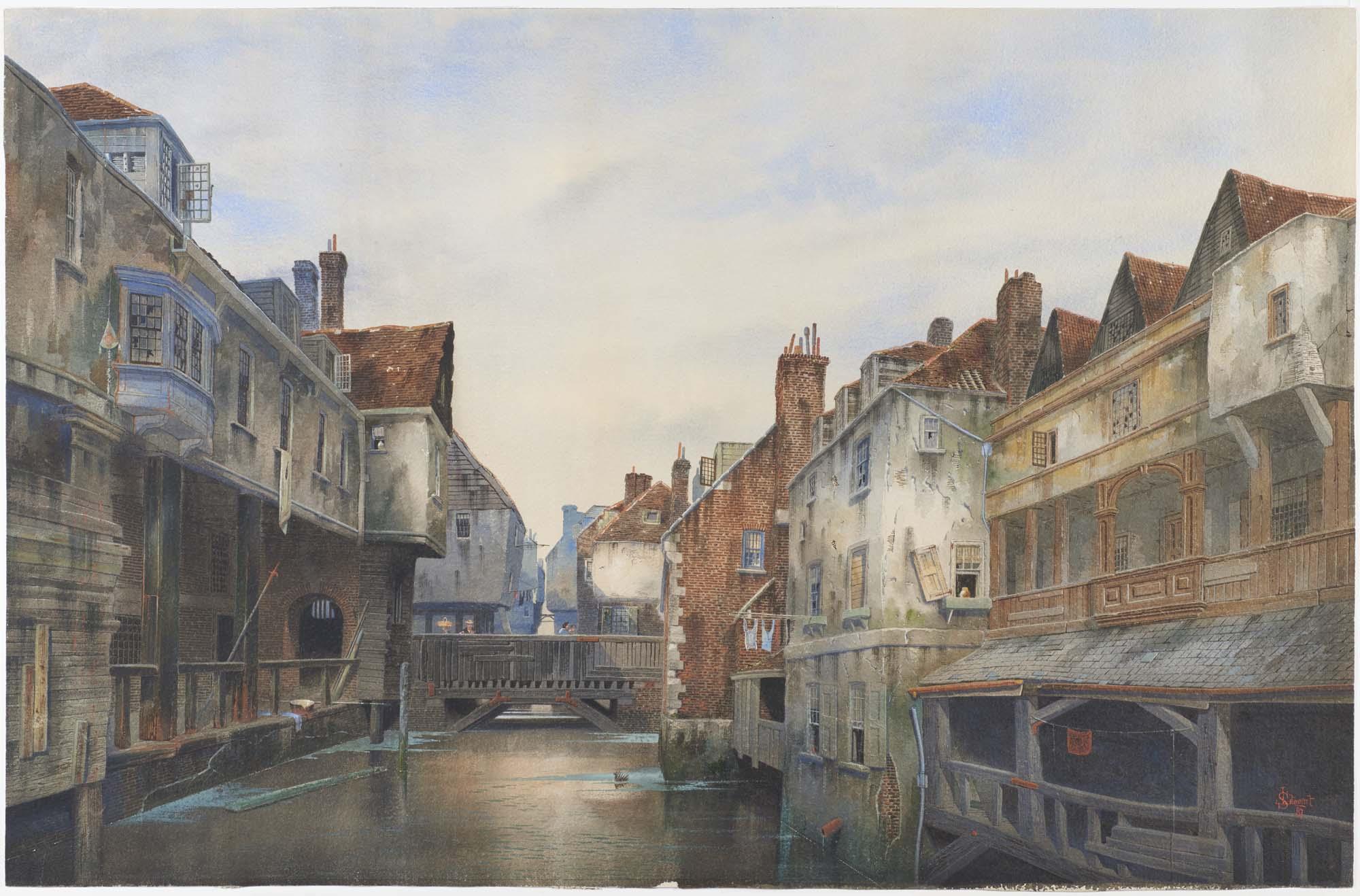 a watercolour of a river scene