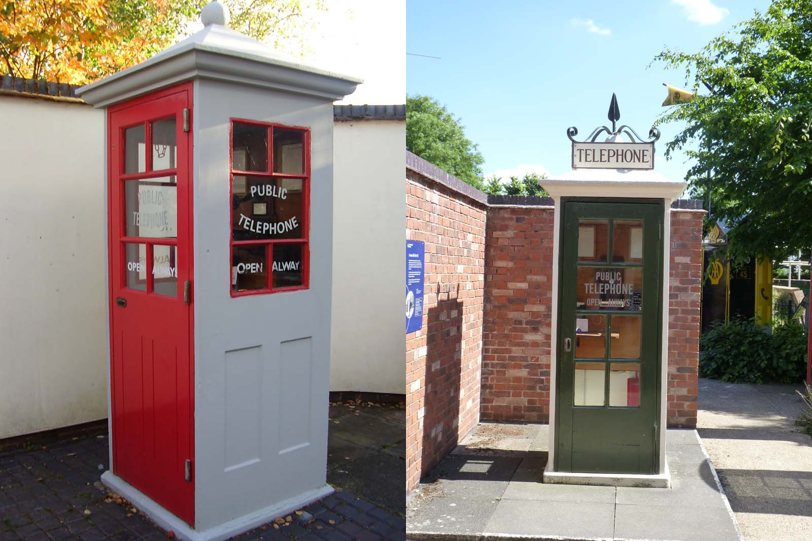 two photographs shjowing the same type of phone box but in redand white and green and white