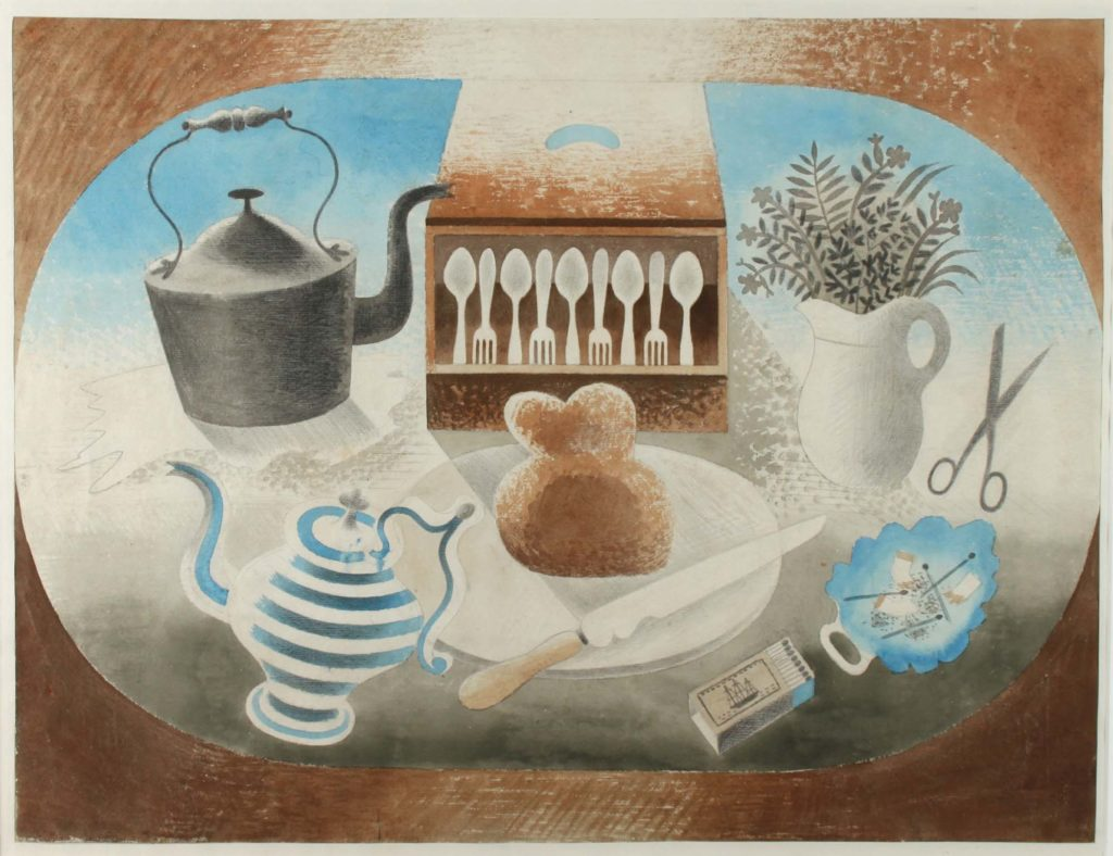 a watercolour illustration with Devon ware jug, iron kettle, jug with flowers and a box with cutlery