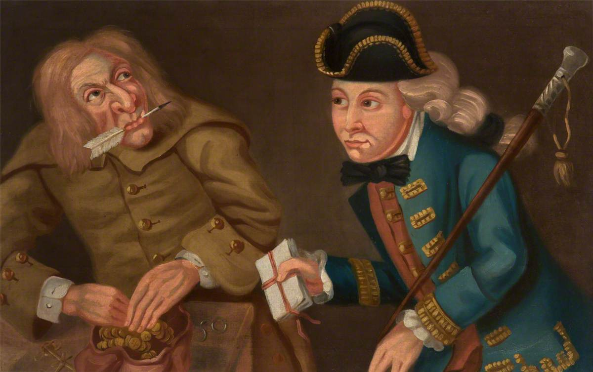 painting of man covering bag of money with his hand and man in bright blue coat and wig passing him a pile of letters