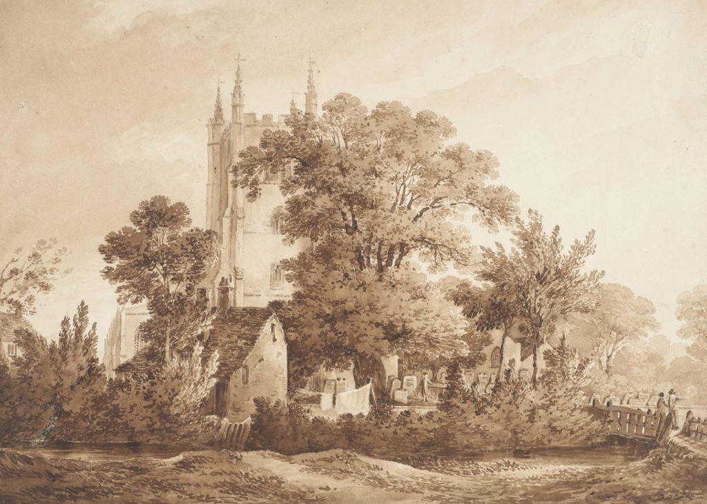 a sepia print of watercolur of a church with cottage, trees and river
