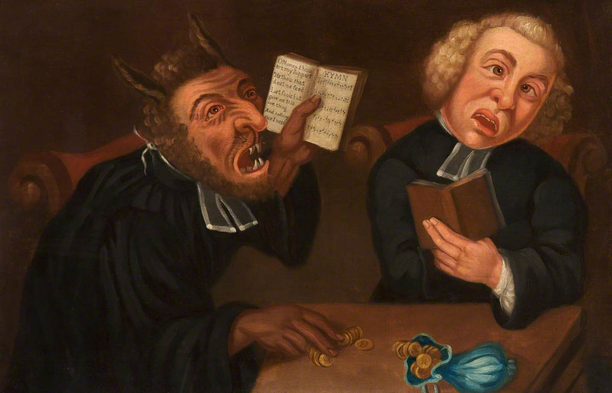 painting of devil and parson holding hymn books. the devil is touching gold coins which are lying next to a small blue bag