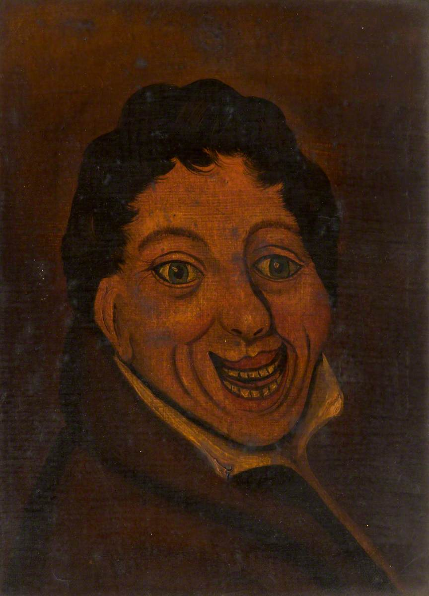 painting of man with short brown hair with wide smile and big eyes