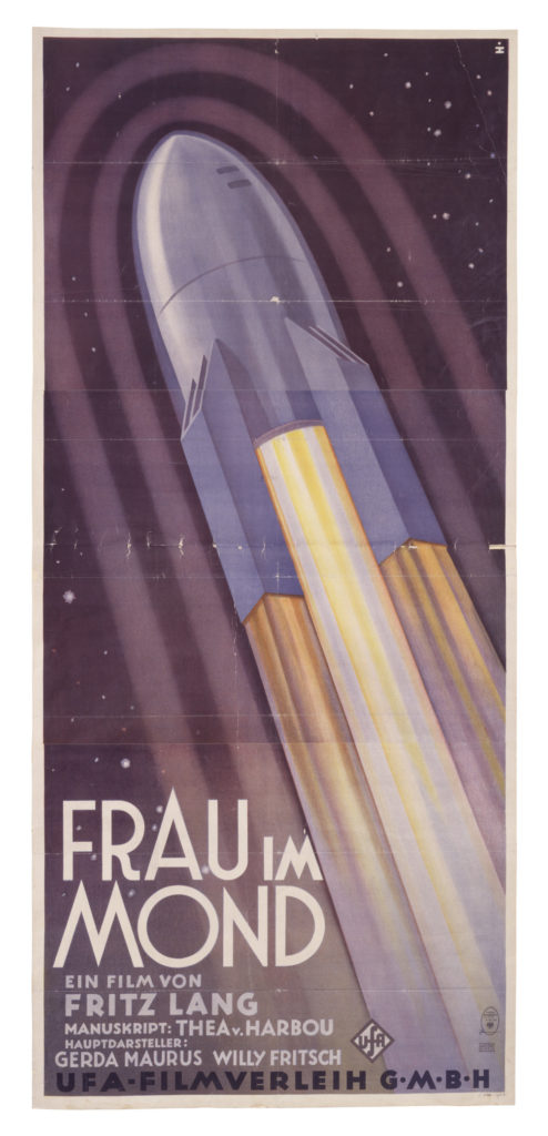 poster showing illustration of rocket heading towards space