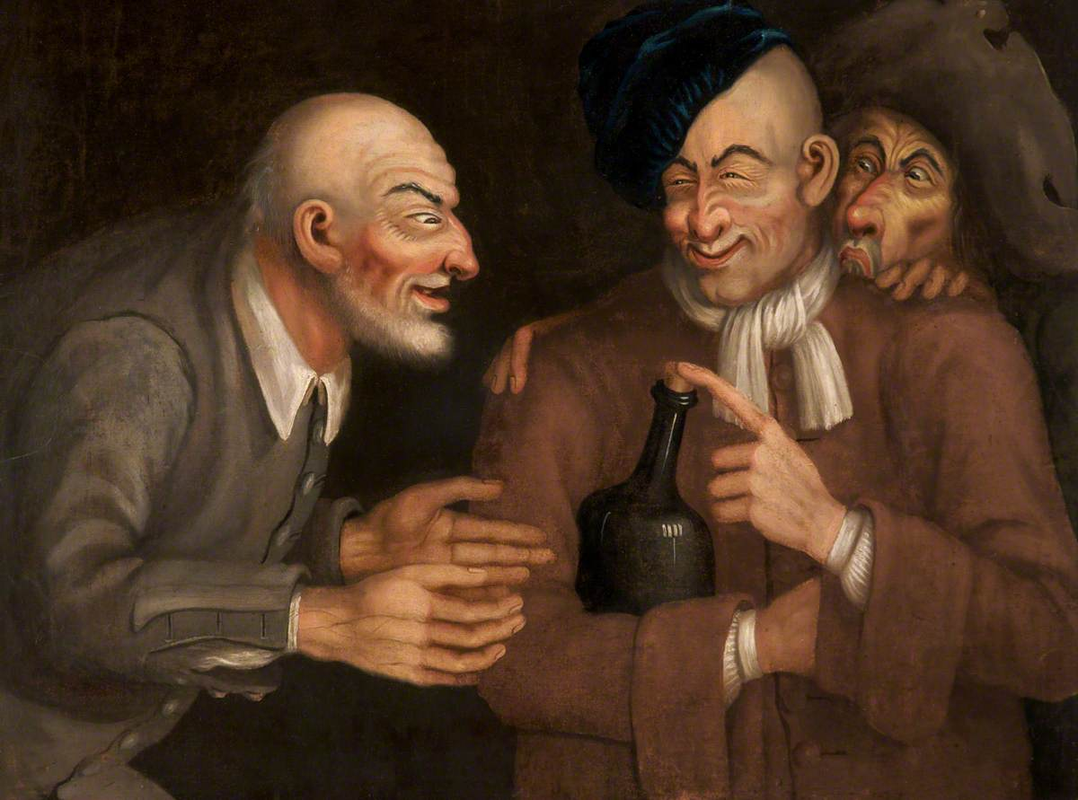 painting of three drunkards, one holding a bottle with a cork, one facing him with his arms outstretched and one peering over the shoulders of the first man