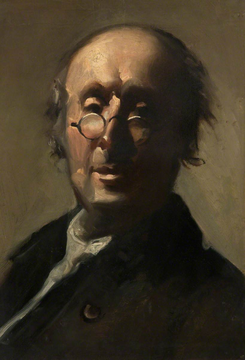 painting of man with small round glasses in dark coat
