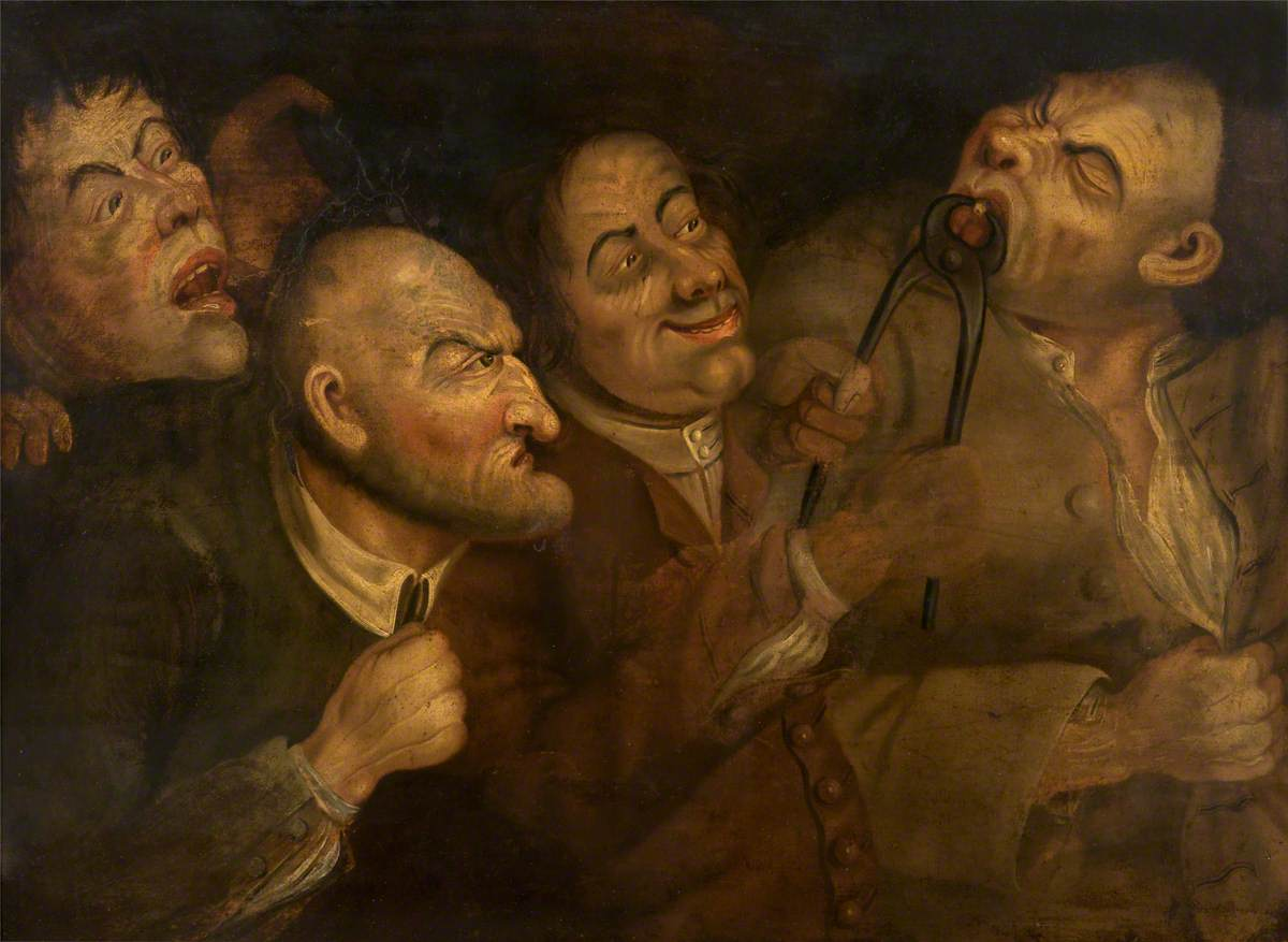 Painting of man pulling another man's tooth while two men watch