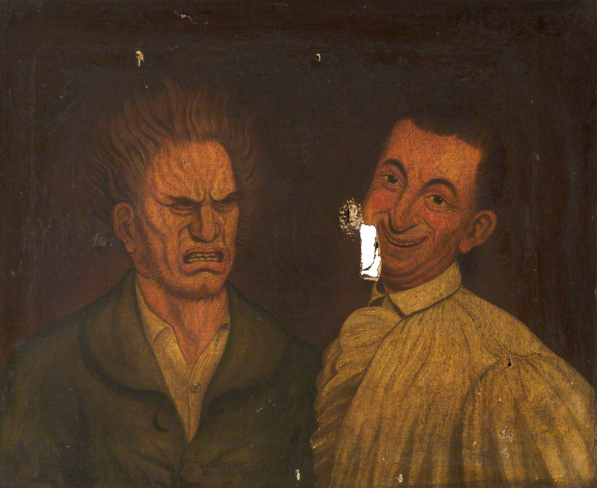 painting of two men, one with short hair and wearing a smock and one with longer hair wearing a dark jacket