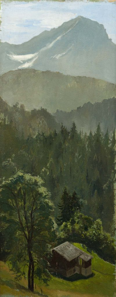 a painting of a forested valley