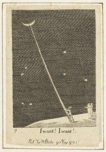 illustration showing person with ladder trying to climb to the moon