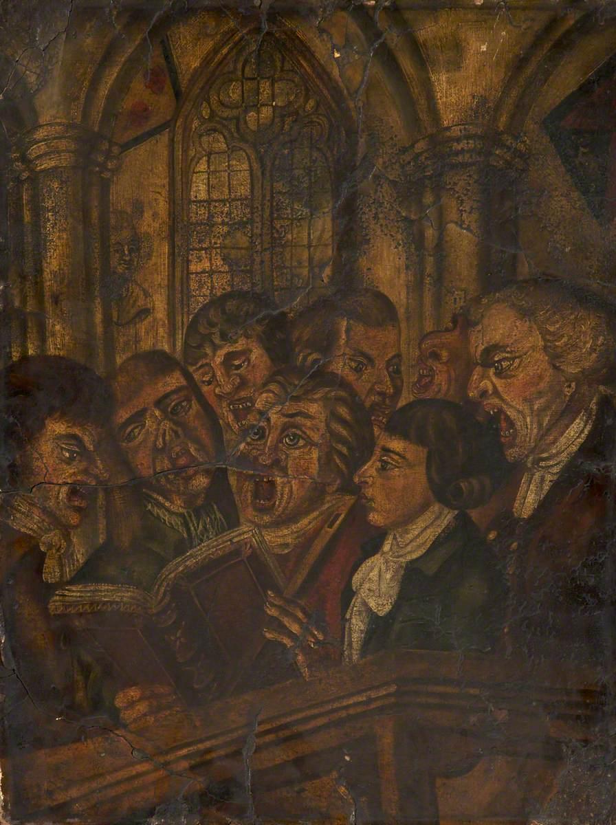painting of several choir members singing