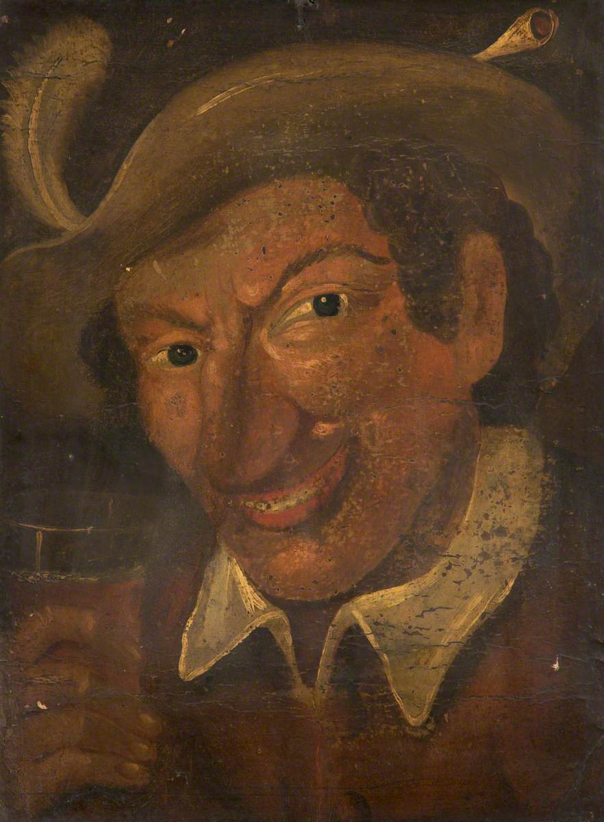 Painting of jeering man with large nose and hat