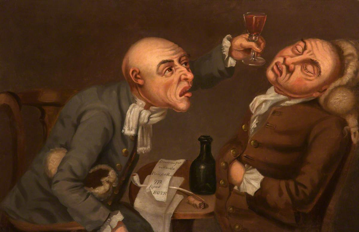painting of two drunkards, one leaning back with his eyes closed and the other holding a glass up to his face
