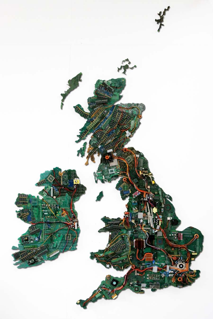 a map of England made of recycled computer parts