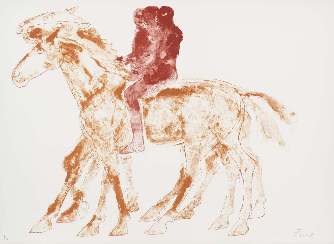 a sketch of three people riding on horseback