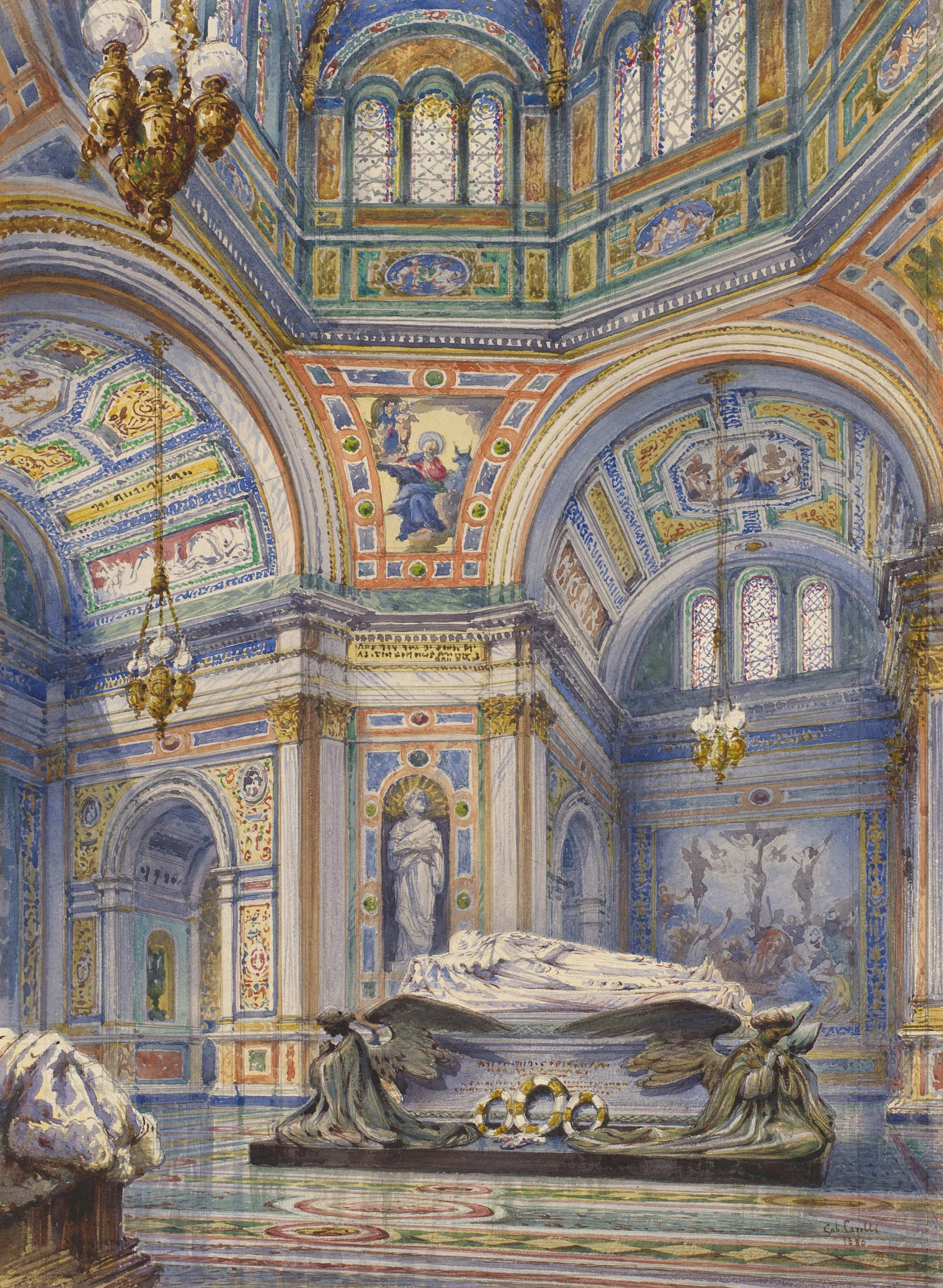 a watercolour of the interior of an ornate domed building with large carved tombs in the middle