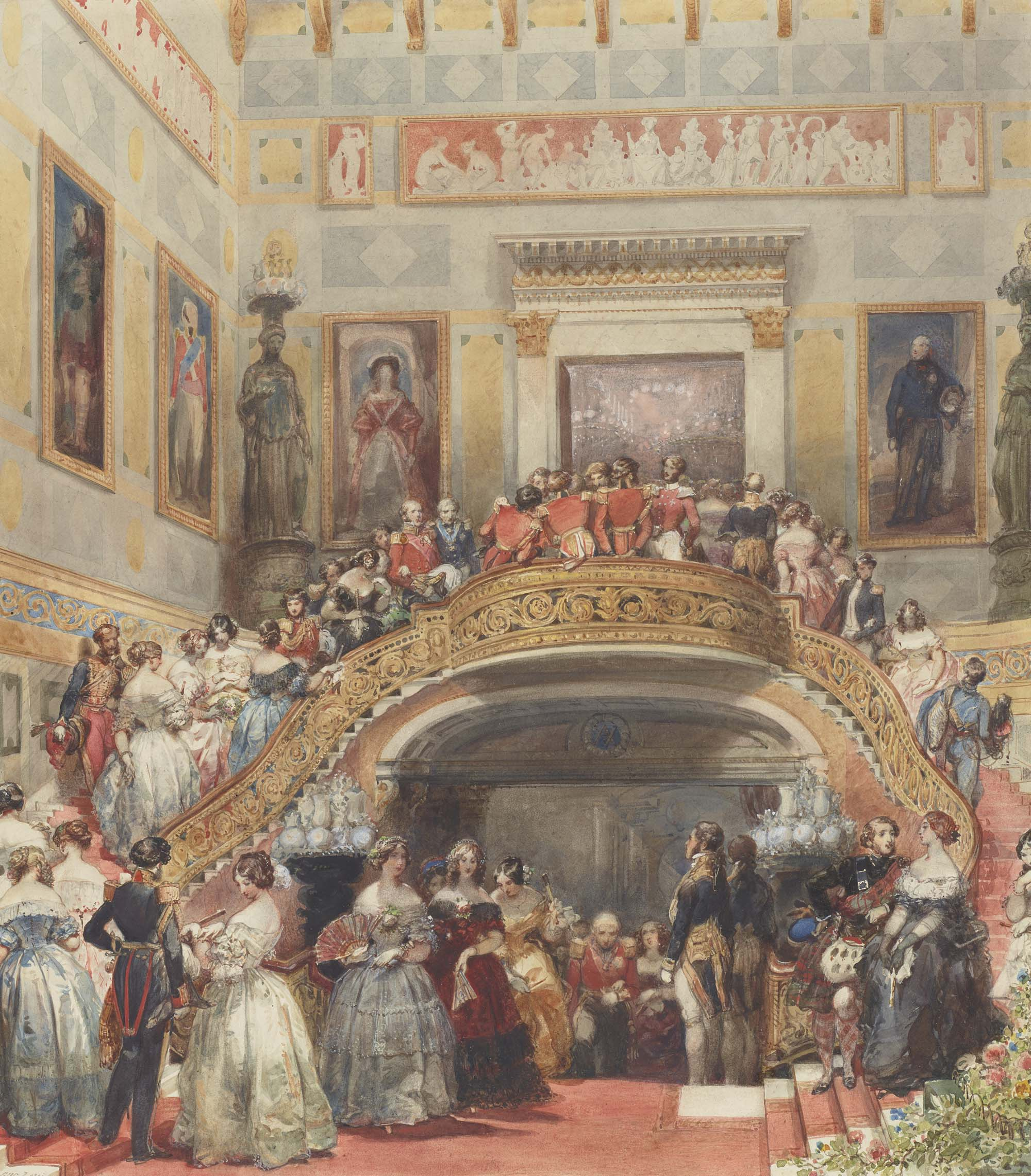 a watwercolour painting of Victorians in their finery crowding a grand staircase and hallway