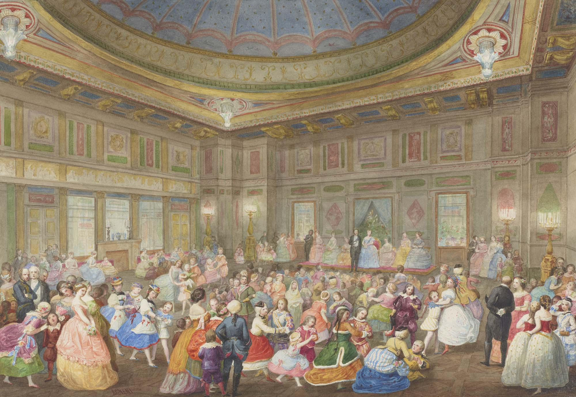 a photo of grandly dressed Victorian children playing in a large ballroom