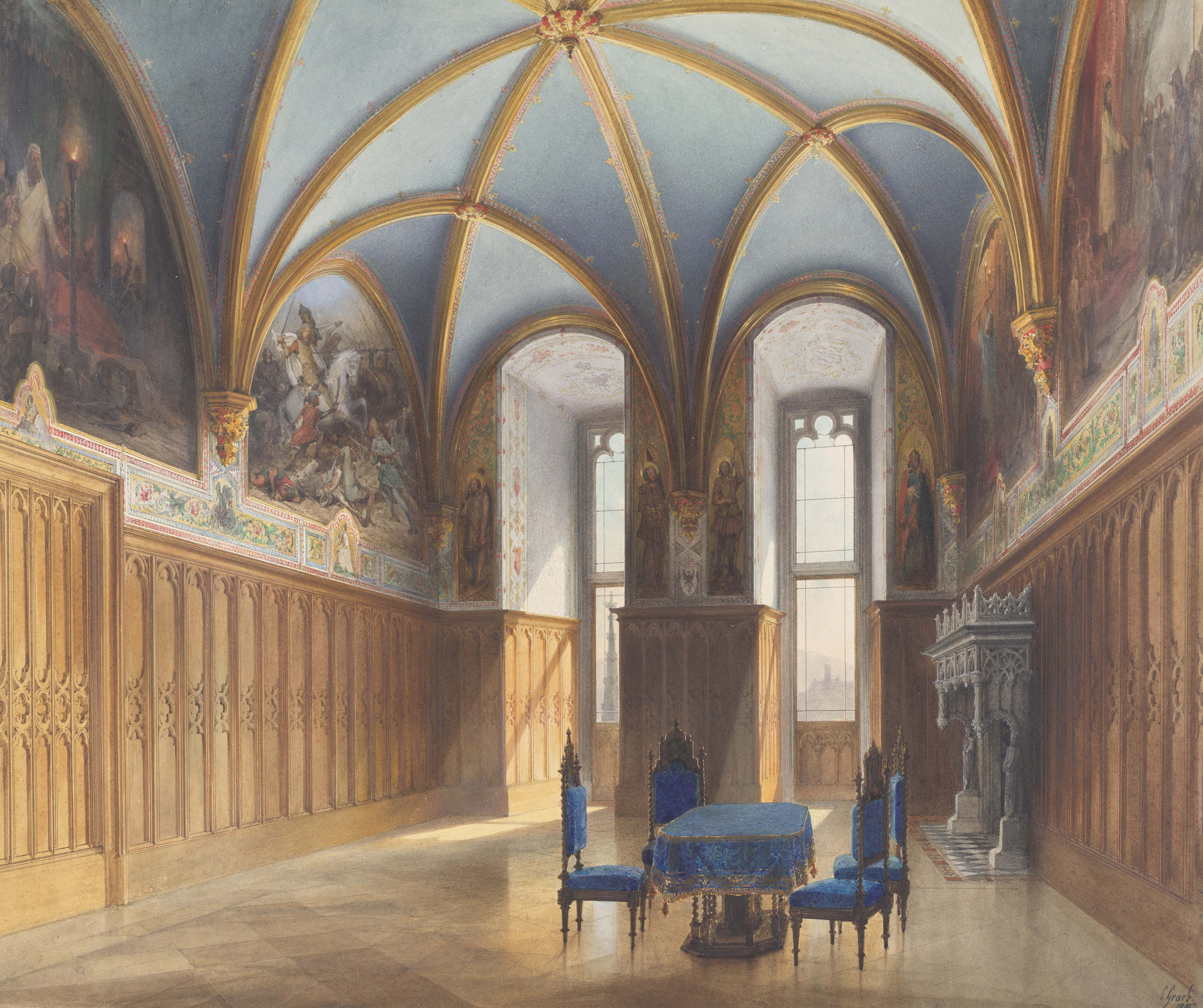 painting of an ornate interior with a vaulted roof