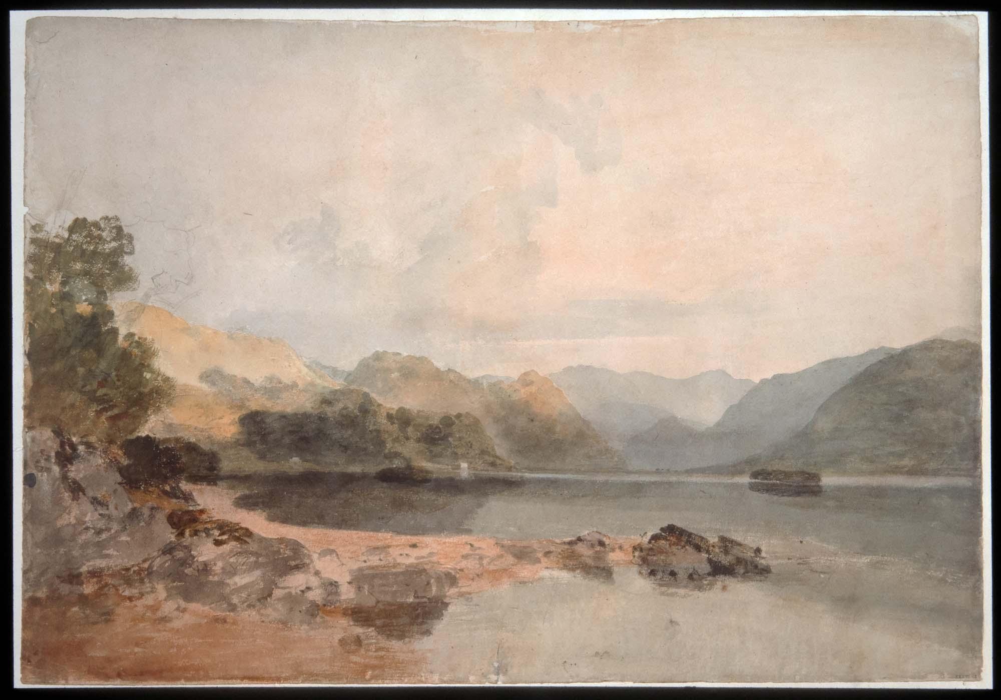 a watercolour looking across a lake