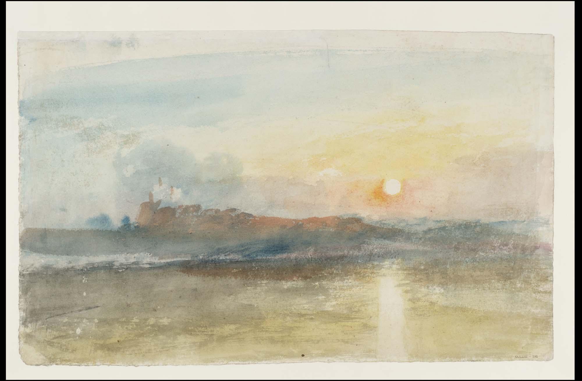 a watercolour of a distant castle seen across a river