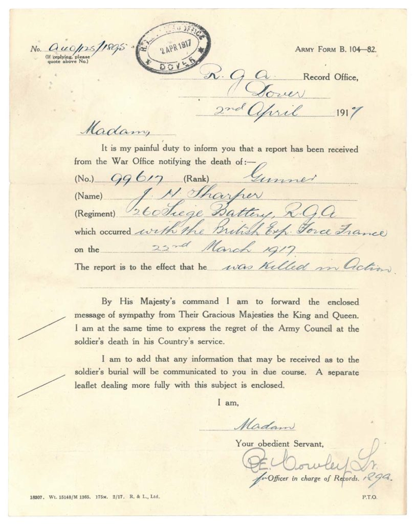 a war offcie letter informing a wife of the death of her husband