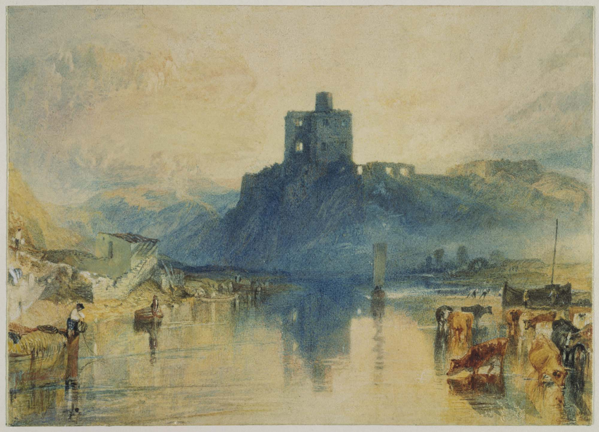 a painting showing a castle ruin reflected across a lake