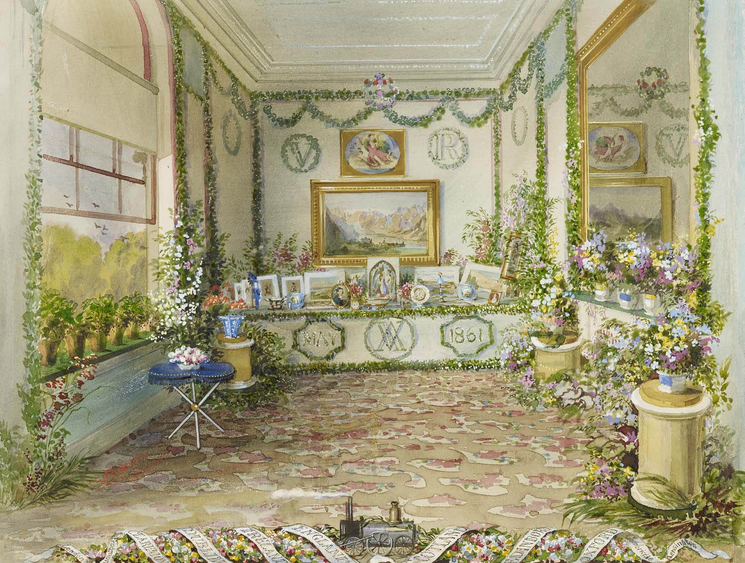 an interiro of a room with decorated table festooned with garlands and flowers