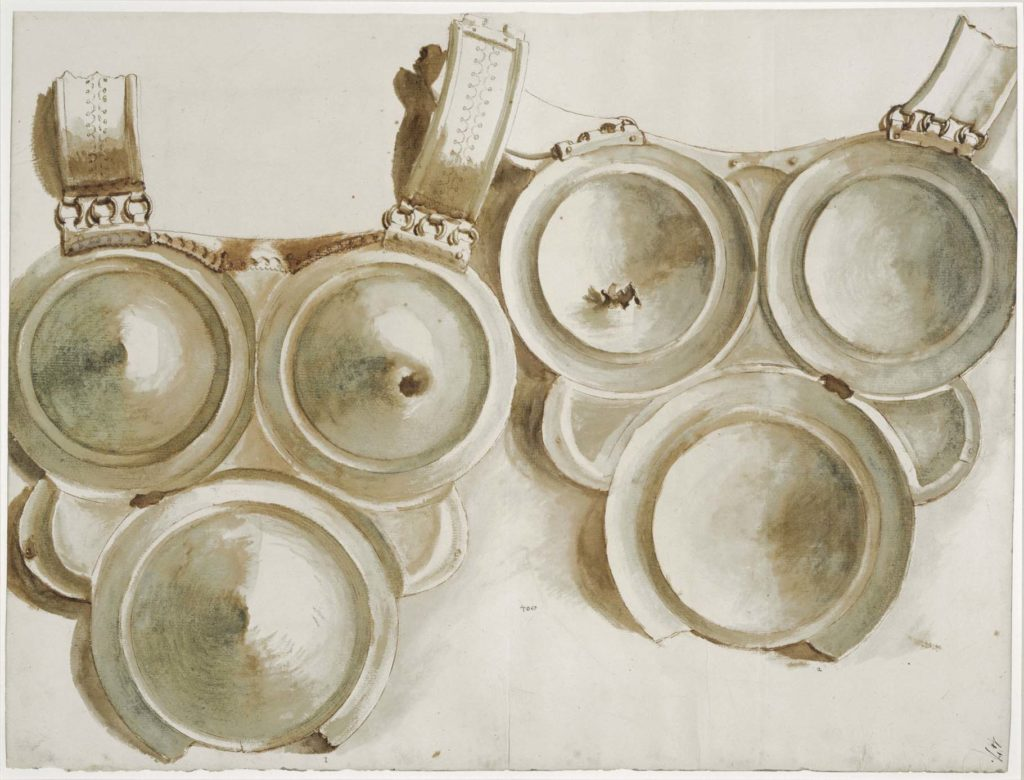 a drawing of a series of armour plates suspended on leather harnesses