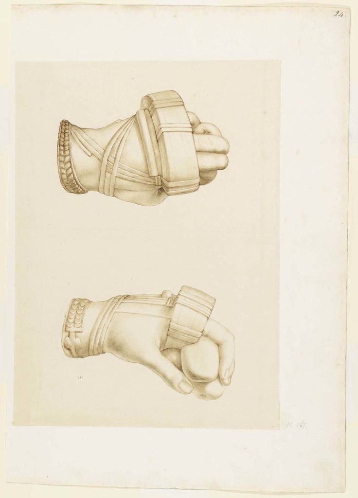 a drawing showing two views of a boxer's bound hands