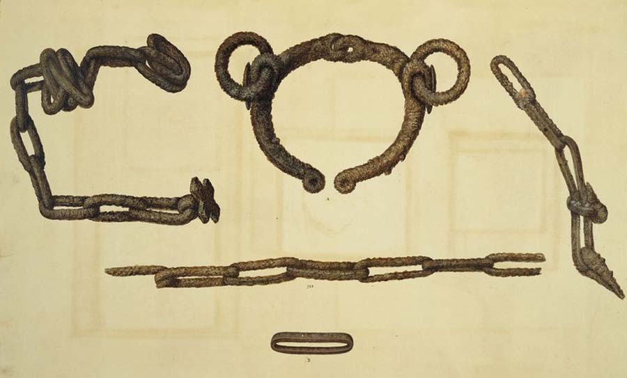 drawing of iron shackles and fragments of chains