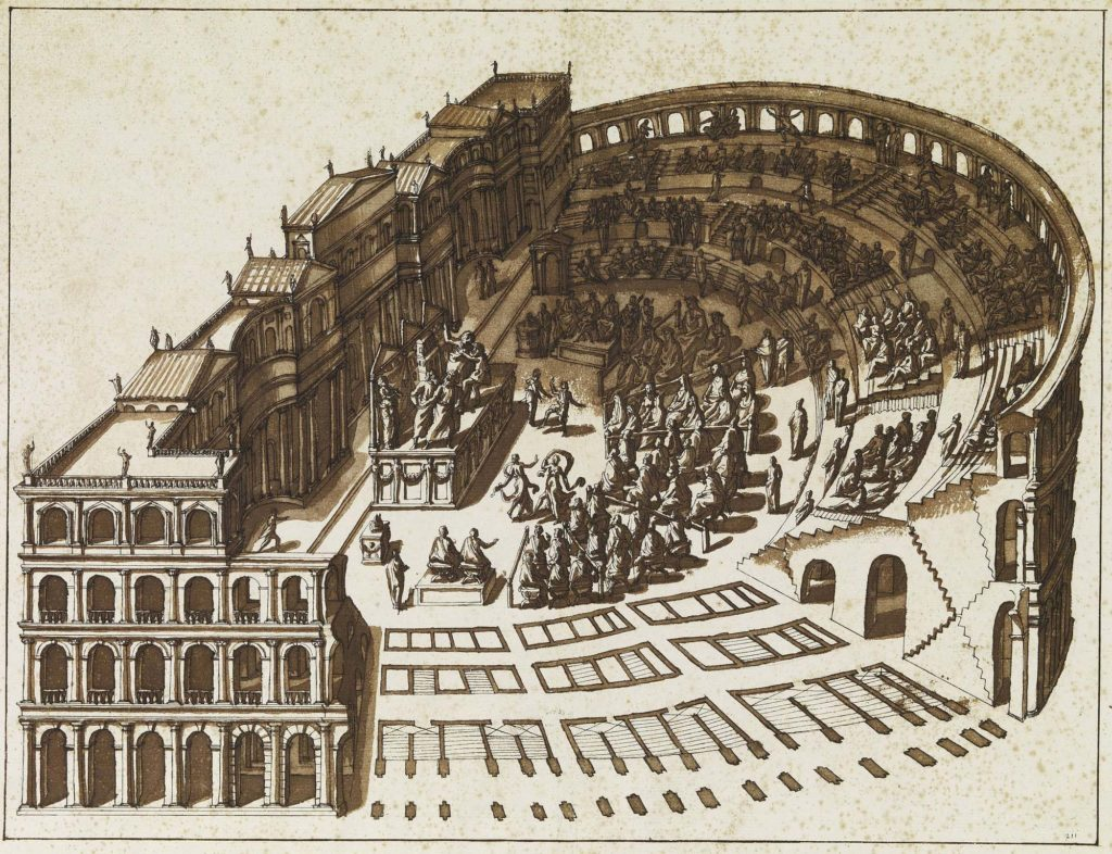 a drawing of a Roman Amphitheatre with a play happening on a central stage
