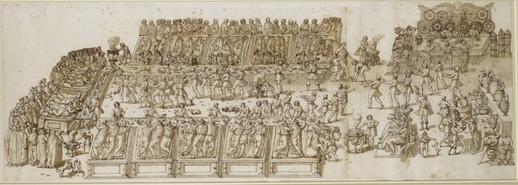 a detailed drawing of Roman feast with people laid on couches eating attended by servants, cooks and musicians