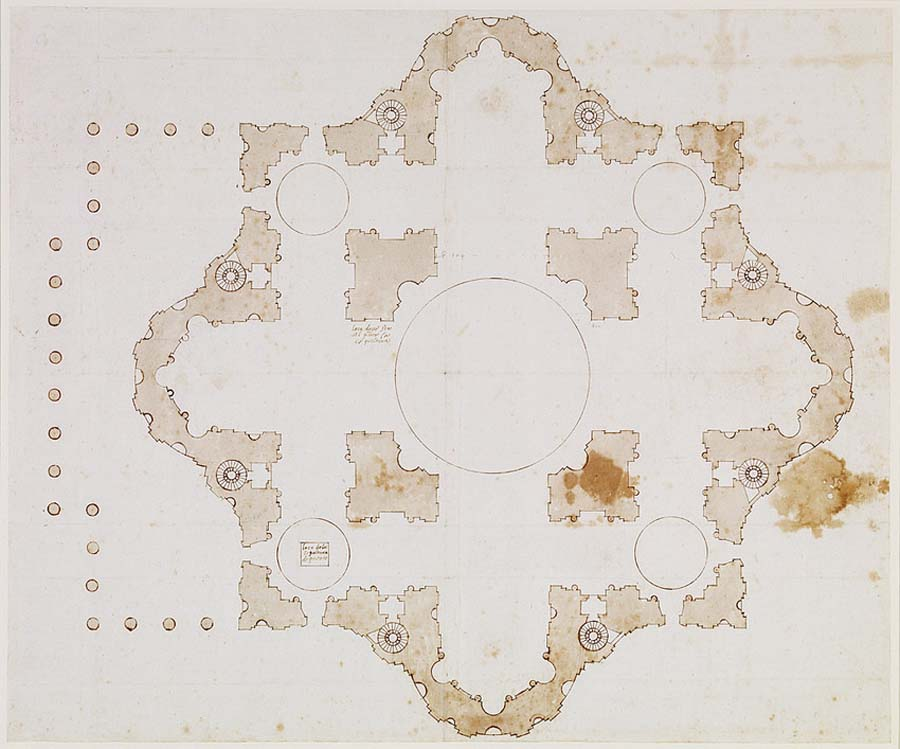 an elevated architectural drawing of symmetrical building with buttressed walls seen from above