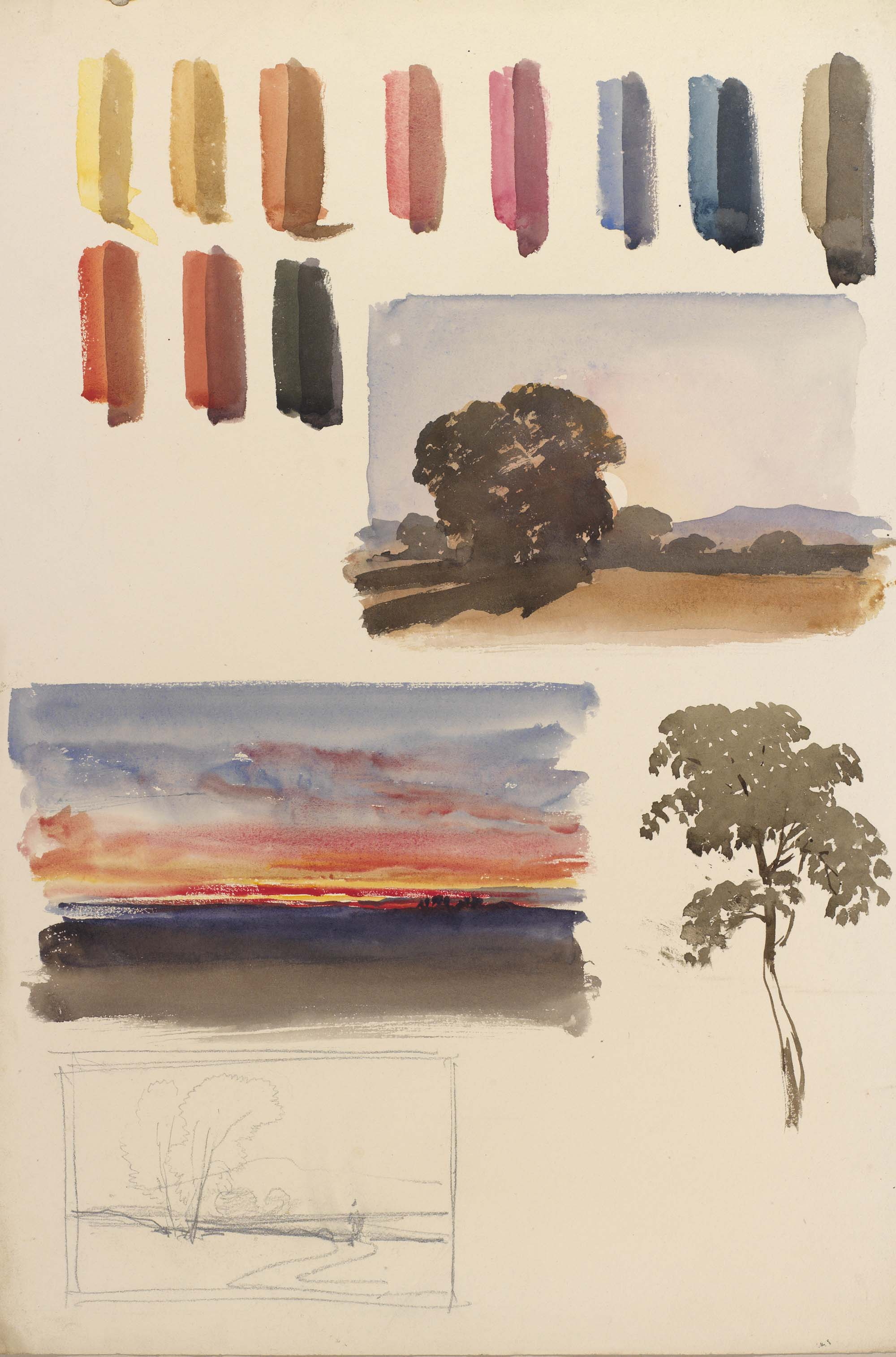 a sheet of watercolours and practice landscapes