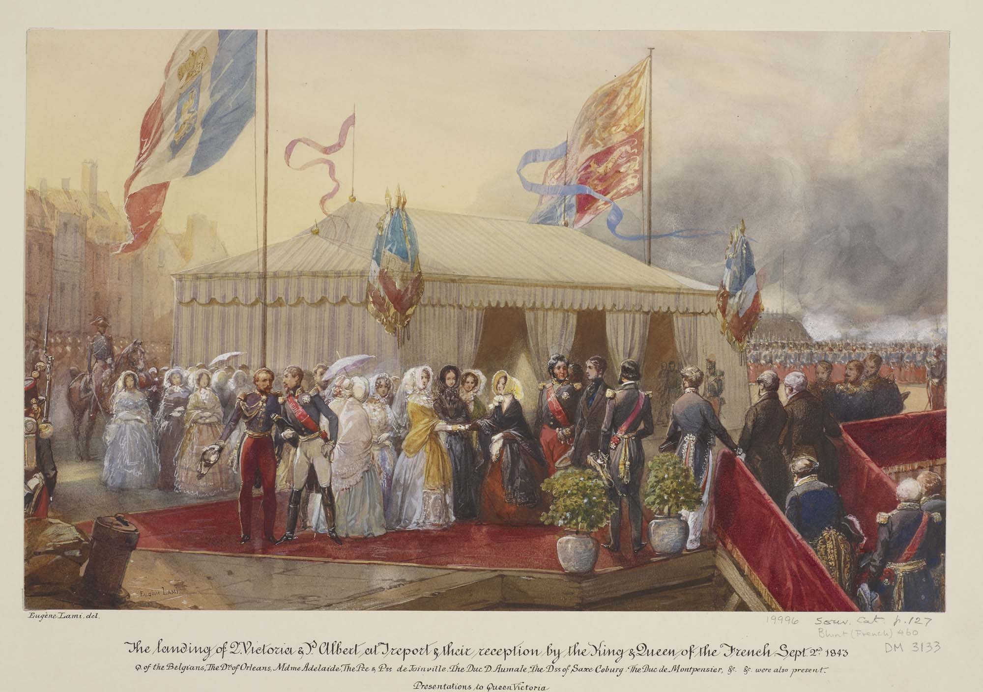 a watercolour of dignitaries greeting each other on a red carpet next to flags and a large marquee