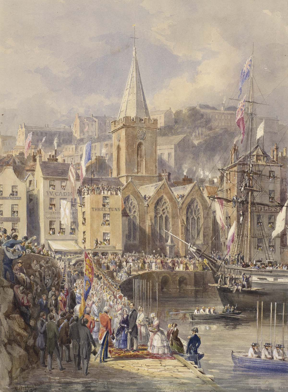 a watercolour painting of barge arriving at a port with a church in the background