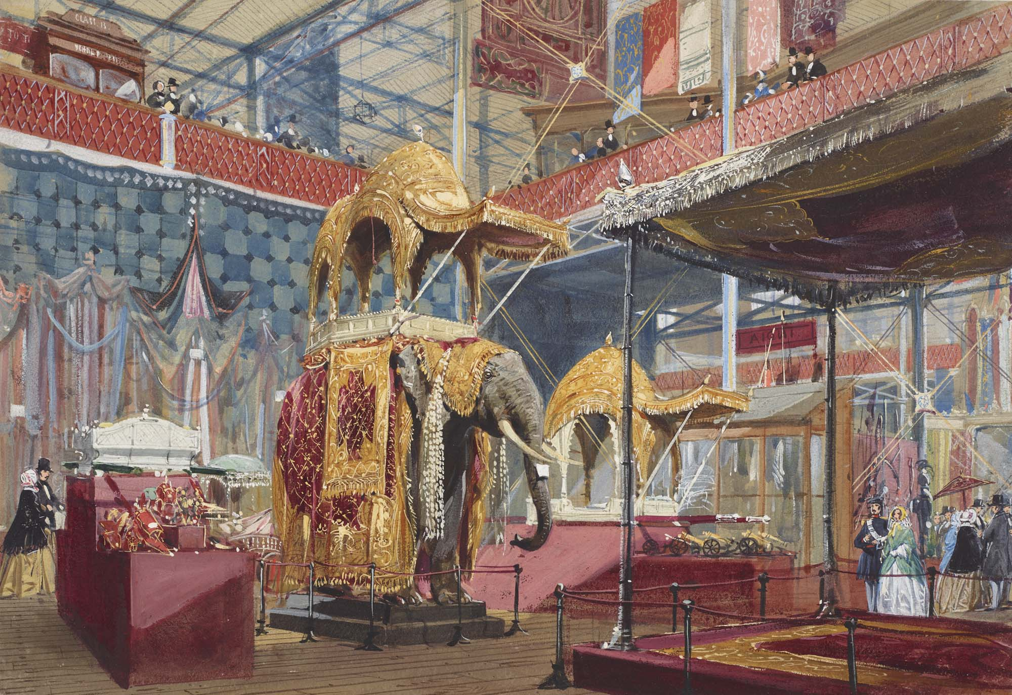 a watercolour drawing of a display with Indian elephant armour