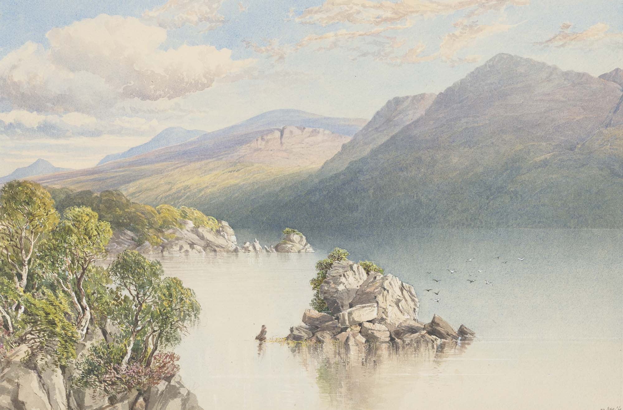 a watercolour lookin across a lake towards trees