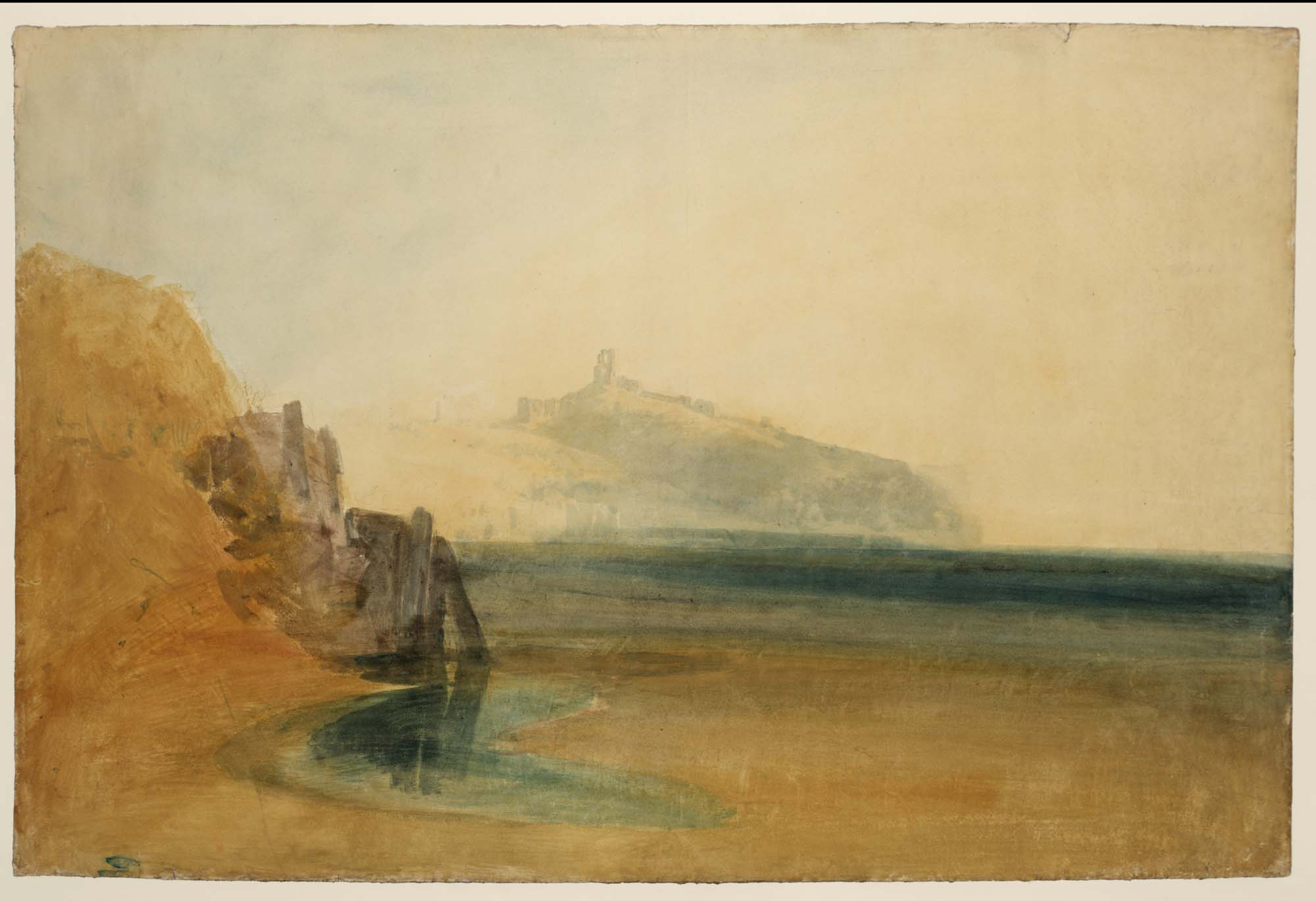 a watercolour across a beach coastline looking out to sea