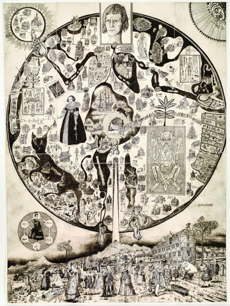 an imaginary circular map with intricate drawings of people and places peppered with words that reflect modern life such as shopaholic, disappointment, lottery winner etc
