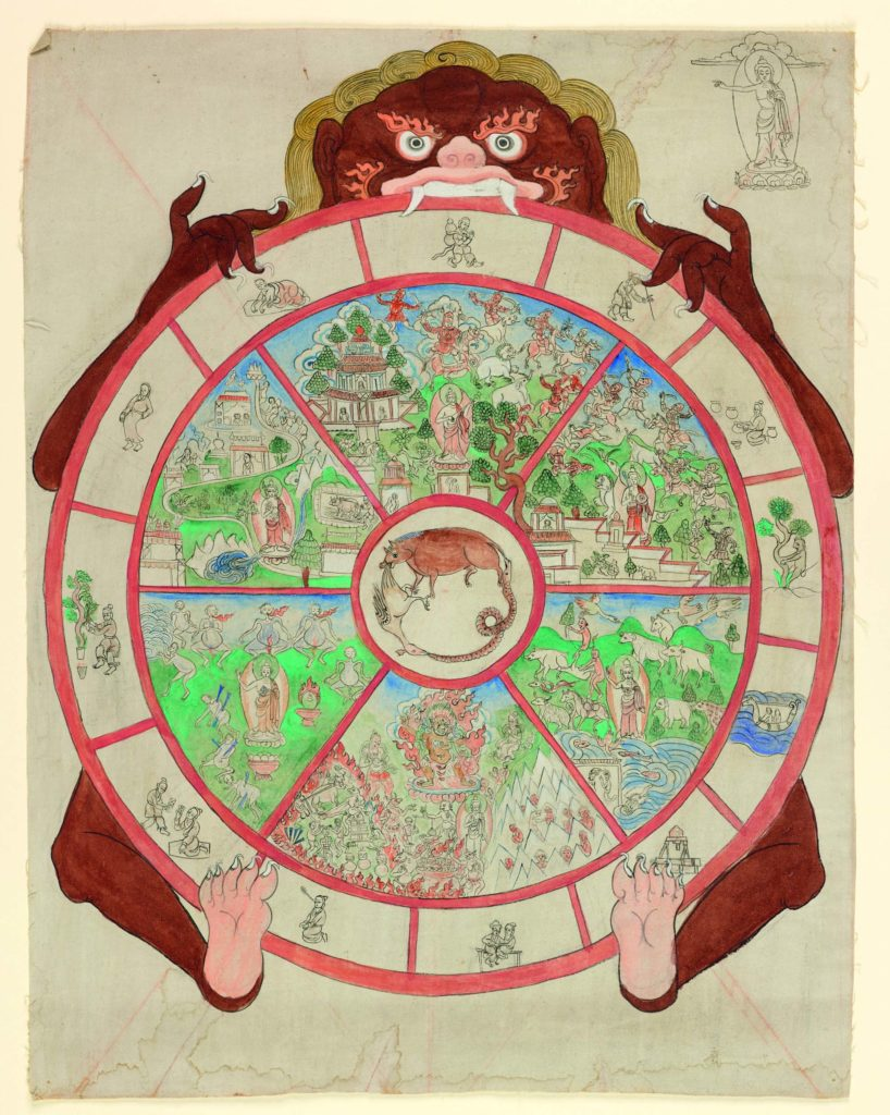 a Tibetan Thangka with a typical circular design with map elements within it